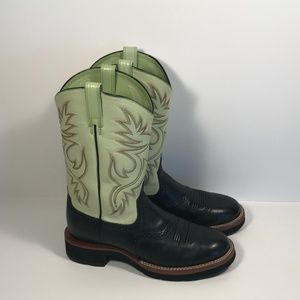 Ariat Black Green Leather Western Boots Women 7 B